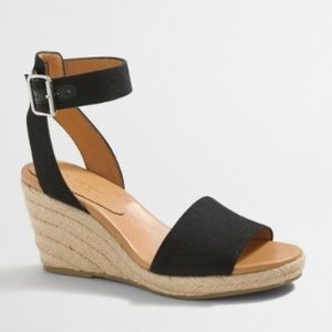 J. Crew Black Strappy Canvas Espadrille Wedges